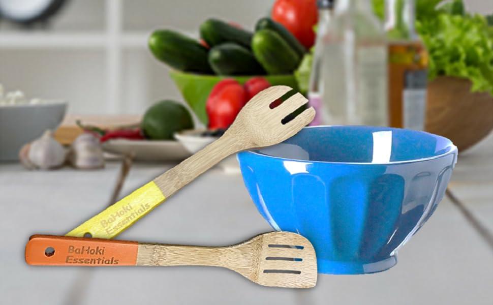 bahoki essentials, Bahoki Essentials, BaHoki, bamboo cooking spoons utensils dip dyed handles