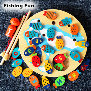 Wooden fishing toys STEM education learning basic skill for kids toddlers alphabet math fishing game