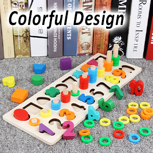 math shorting puzzles - CozyBomB Wooden Number Puzzle Sorting Montessori Toys For Toddlers - Shape Sorter Counting Game For Age 3 4 5 Year Olds Kids - Preschool Education Math Stacking Block Learning Wood Chunky Jigsaw