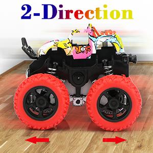 Friction Powered Monster Trucks Toys for Boys - Push and Go Car Vehicles Truck Jam Playset, Inertia