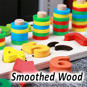 CozyBomB Wood Stacking Blocks Puzzles Toys for Kids - Montessori Wooden Block Counting Sorting Game - CozyBomB Wooden Number Puzzle Sorting Montessori Toys For Toddlers - Shape Sorter Counting Game For Age 3 4 5 Year Olds Kids - Preschool Education Math Stacking Block Learning Wood Chunky Jigsaw