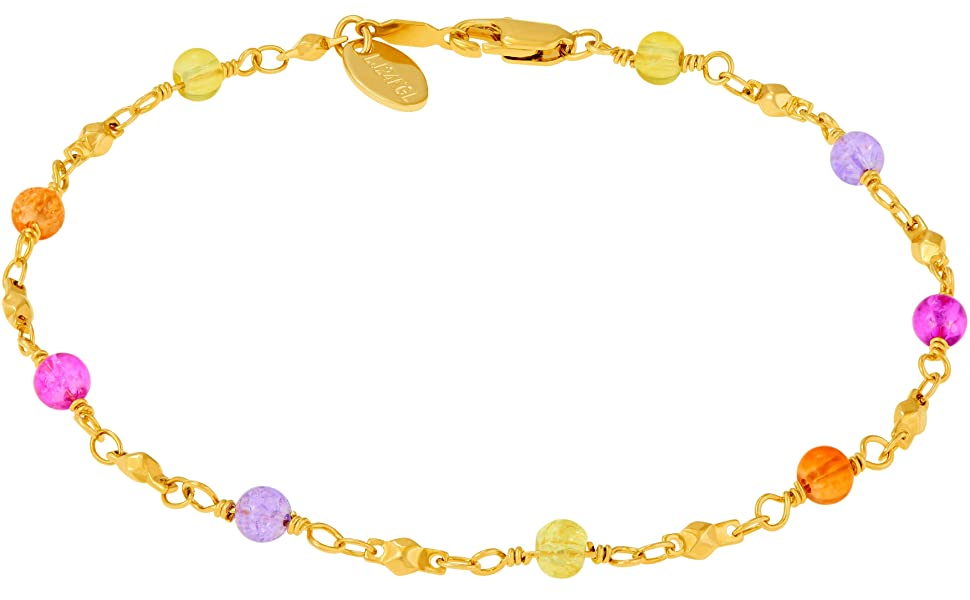 LIFETIME JEWELRY 5mm Crushed Maritime Anklet for Women /& Girls 24k Real Gold Plated with Free Lifetime Replacement Guarantee