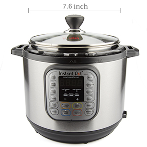 WISH Universal Electric Pressure Cooker Lid with Two Knobs Tempered Glass Lid for Instant Pot Mini 3 Quart 7.6 Inch 19 cm