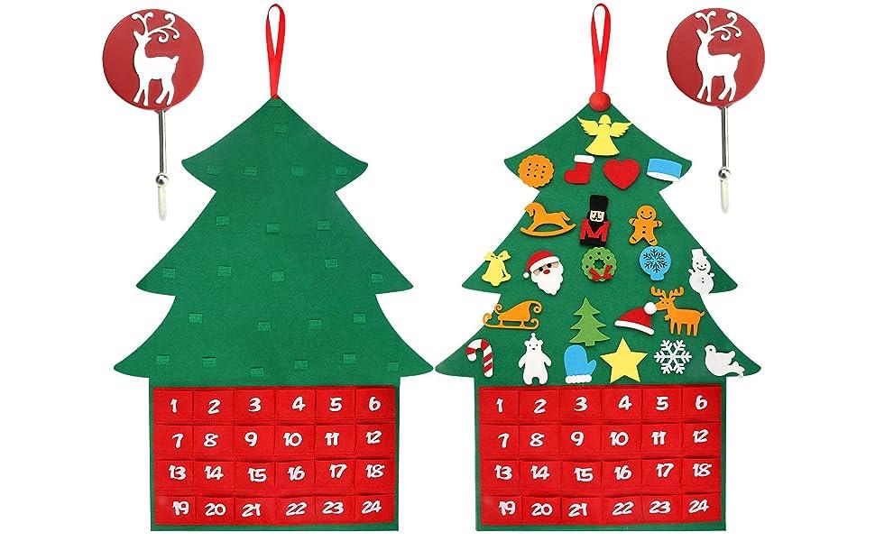 Felt Christmas Tree Ornaments Advent Calendar Set