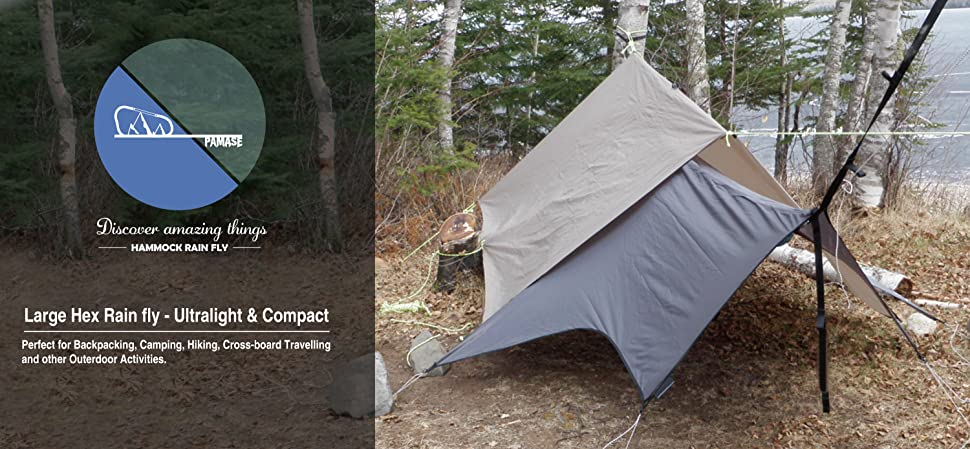 Product Description & Amazon.com : Black Hexagon Hammock Rain Fly - Tent Tarp Ultralight ...