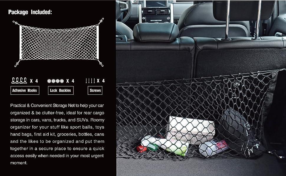 PAMASE 43 x 17.5 Large Adjustable Elastic Envelope Cargo Net for Toyota Tacoma SUV GMC Yukon XL Black Flexible Car Trunk Storage Organizer Net with 2 Installation Options
