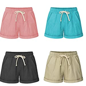 Women's Elastic Waist Casual Comfy Cotton Linen Beach Shorts with Drawstring