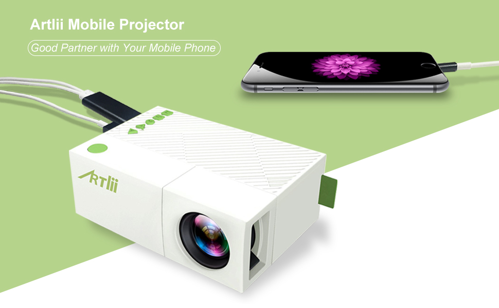 Mobile projector artlii portable mini for Best portable projector for iphone