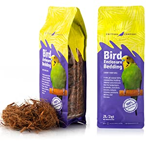 Safe, all natural coconut fiber bedding material and enclosure liner for pet birds