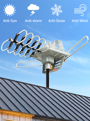 Vansky Outdoor 150 Mile Motorized 360 Degree Rotation OTA Amplified HD TV  Antenna for 2 TVs Support - UHF/VHF/1080P Channels Wireless Remote Control  -