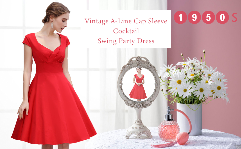9a202048cb9a ... Cocktail Party Swing Dresses Rockabilly Summer Prom Dresses. vintage  dress
