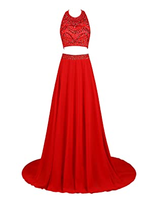 Bbonlinedress Two Piece Gorgeous A-line Floor Length Chiffon Prom Dresses