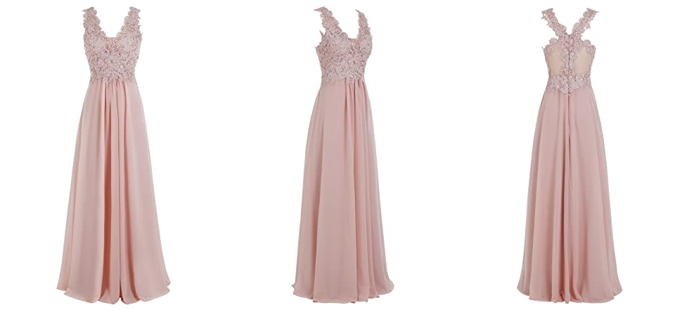 Bbonlinedress Long Chiffon V-Neck Applique Sleeveless Bridesmaid Gowns Prom Dresses