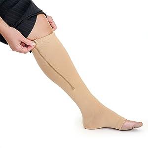 Amazon Com Zipper Medical Compression Socks With Open Toe