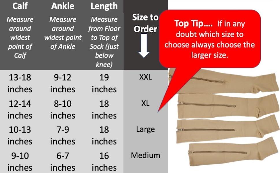 Lemon Hero Compression Socks Size Chart