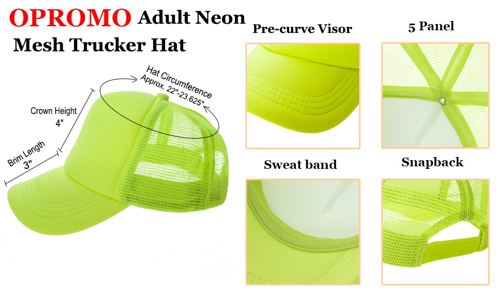 Opromo Summer Mesh Trucker Hat with Adjustable Snapback Strap Neon Baseball Cap