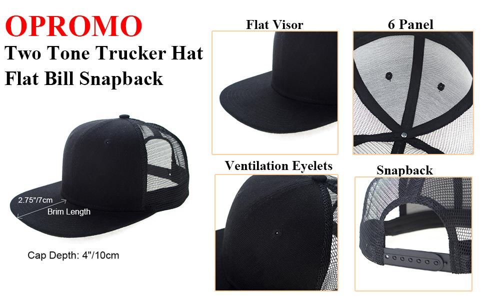 73cdc0e53cd90 Opromo 6 Panel Flat Bill Mesh Trucker Hat Plain Adjustable Snapback ...