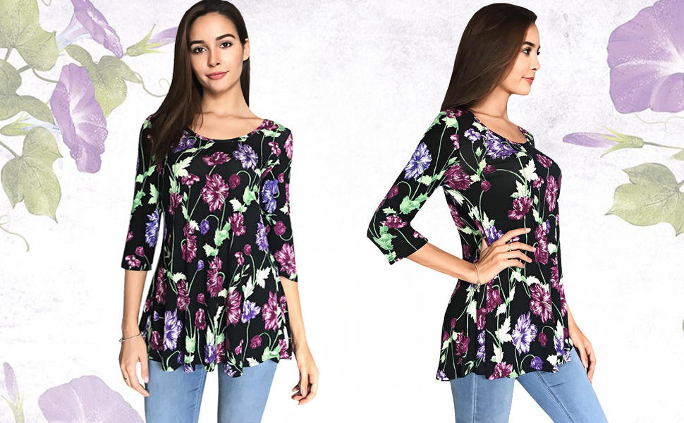 b25dd29a5f5 ... Quarter Sleeve Flowery Pattern Tunic Tops. floral tunic tops for women