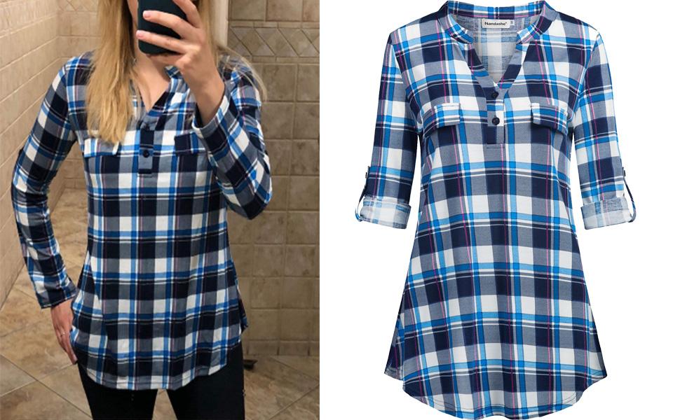 75ab751885e01 Nandashe Women s Henley V Neck Chiffon Blouses 3 4 Cuffed Sleeve Casual  Tunic Shirts. plaid shirts for women
