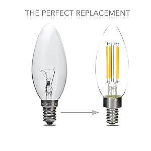 dimmable led candelabra light bulbs 4 watt 2700k teardrop lightbulbs for indoor lamp. Black Bedroom Furniture Sets. Home Design Ideas
