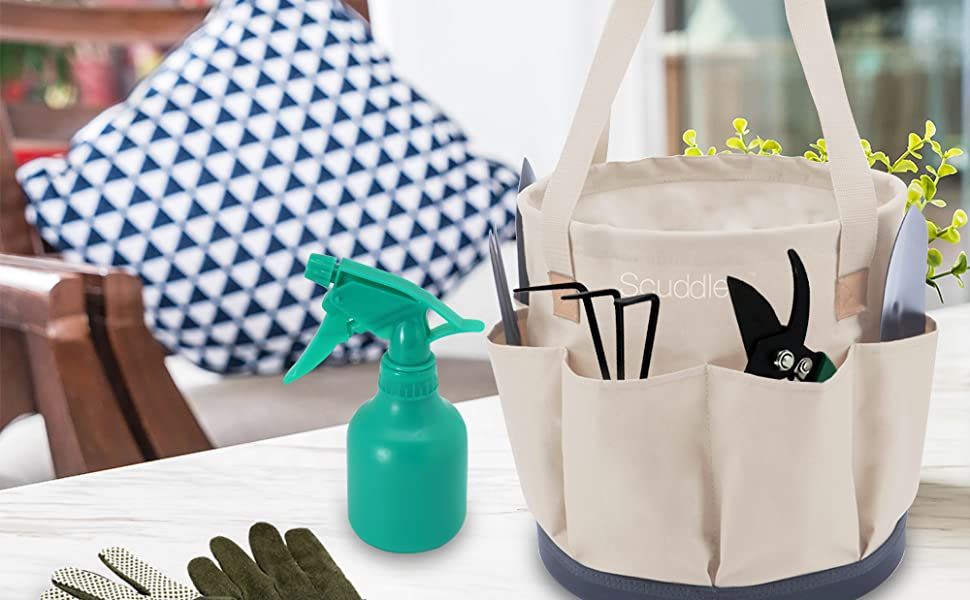 USEFUL ACCESSORIES - Cotton work gloves protect hands while you work, and 25 ounce watering spray bo