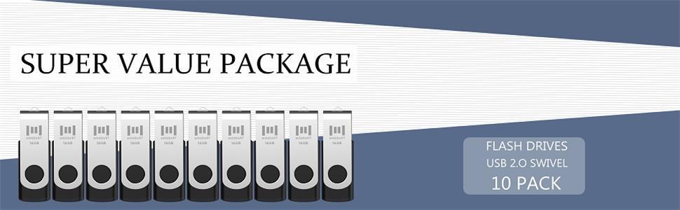 Amazon.com: 10 X MOSDART 16GB Bulk USB 2.0 Flash Drives Swivel ...