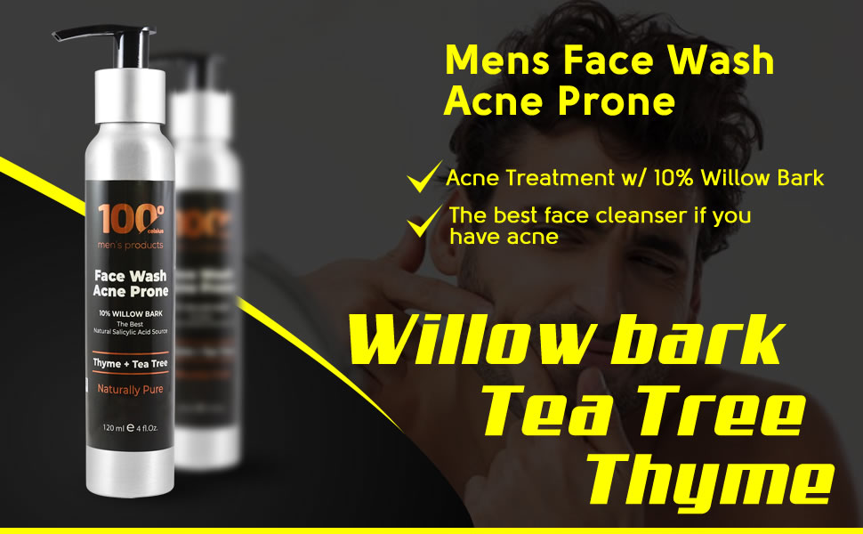 Amazon Com Mens Face Wash Acne Prone Buy 1 And Get 1 Body Wash All In All 8oz Limited Offer Acne Treatment W 10 Willow Bark Natural Salicylic Acid Source Contains Organic Extracts Thyme And Tea