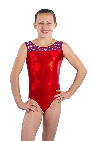 dd08fcc19888 Amazon.com  Girls Gymnastics Leotard USA Stars- Stripes Fabric and ...