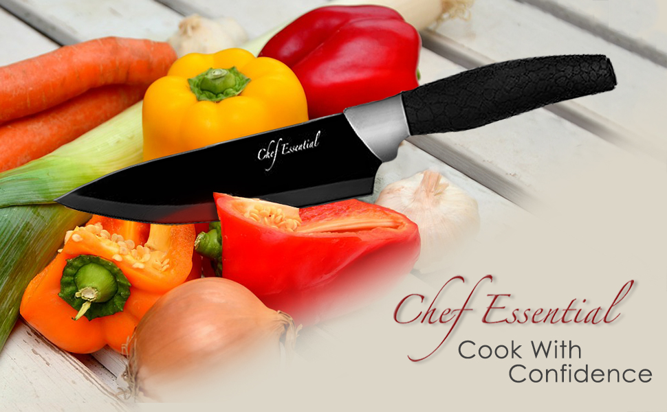 Chef Essential 6 Piece Knife Set With Matching Sheaths, Black