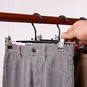 Pants Hangers Skirt Hangers with Adjustable Clips 20 Pack