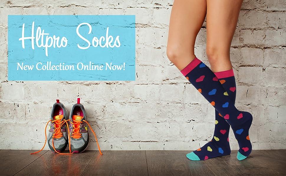 73b4a683b Amazon.com  HLTPRO Compression Socks 20-30 mmHg Women   Men - 1 4 6 ...