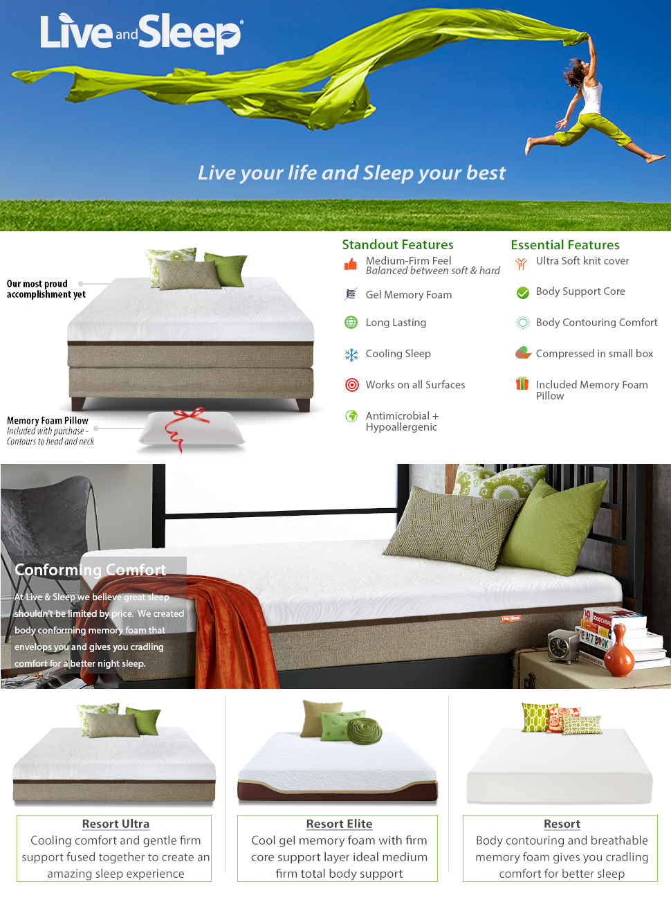 amazon com live and sleep resort ultra full double size 12 inch