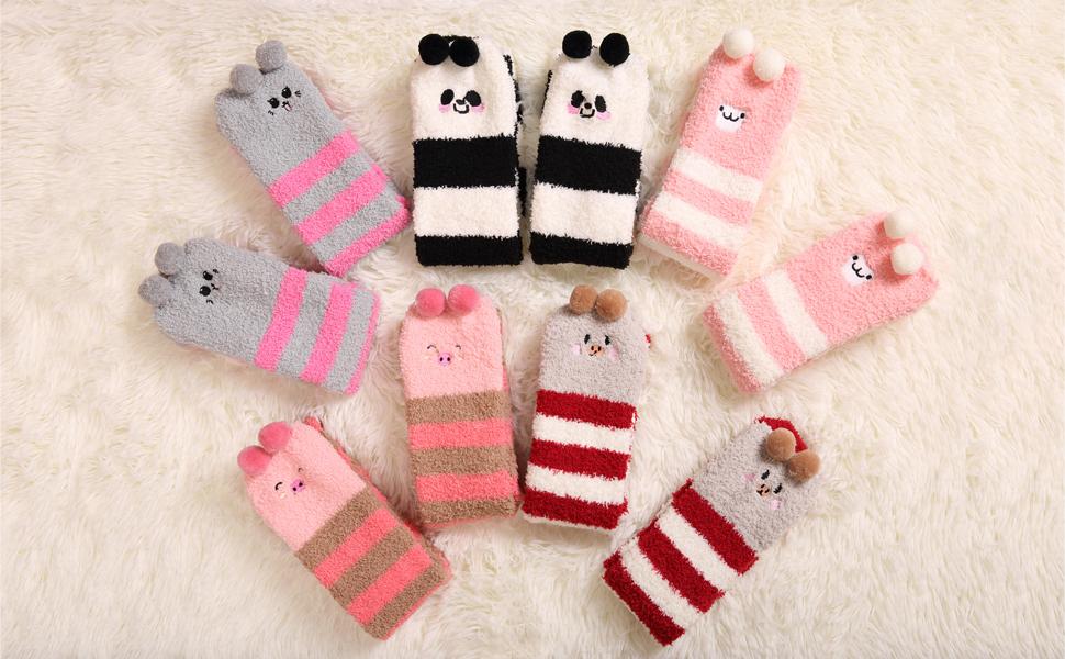 c92e5747ad9 DoSmart Womens Soft Warm Knee High Stockings Animal Stripe Fuzzy ...