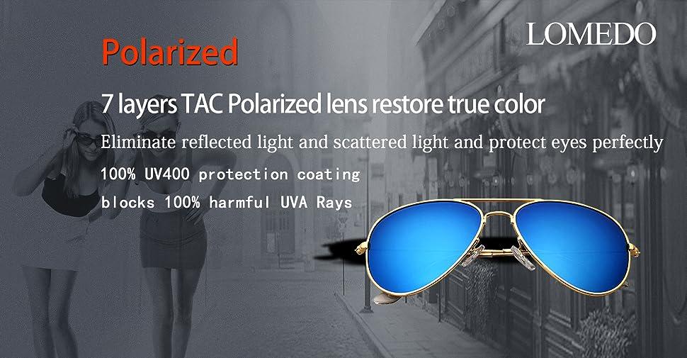 37af7d6e6ed7 Amazon.com  LOMEDO Premium Polarized Aviator Sunglasses for Women ...