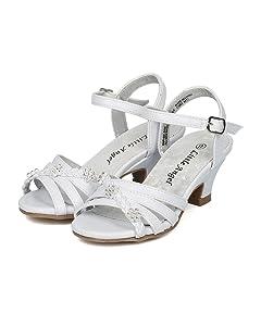07b5e38491c Alrisco Little Angel Collection Girls Open Toe Rhinestone Flower Ankle  Strap Kiddie Heel Sandal
