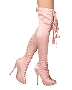 fb7a5d9808c Alrisco Liliana Collection HE06 Women Satin Thigh High Peep Toe Lace Up Stiletto  Boot