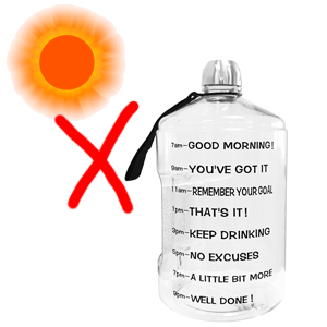 Don't put it in the sun for a long time  BuildLife 1 Gallon Water Bottle Motivational Fitness Workout with Time Marker/Drink More Daily/Clear BPA-Free/Large 128OZ /73OZ /43OZ Capacity c0233e73 af3f 4bb9 9400 fbf4efc9a71c