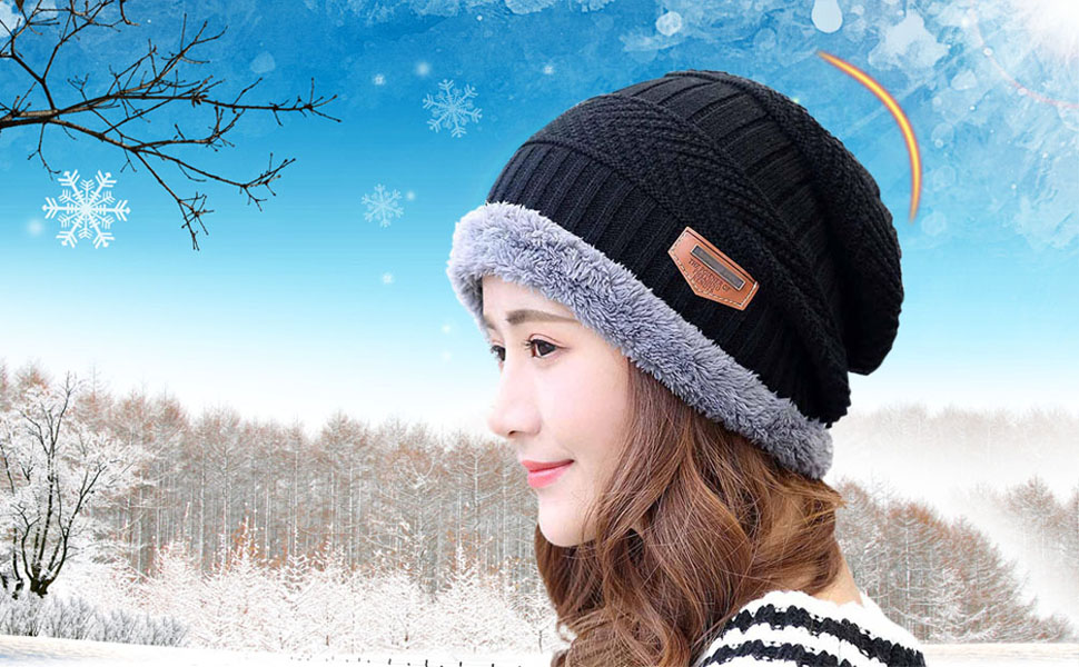 412ac903 HINDAWI Winter Slouchy Beanie Gloves for Women Knit Hats Skull Caps Touch  Screen