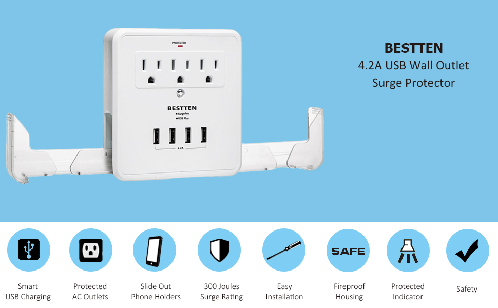 bestten multi outlet wall mount adapter surge protector with four 4 rh amazon com