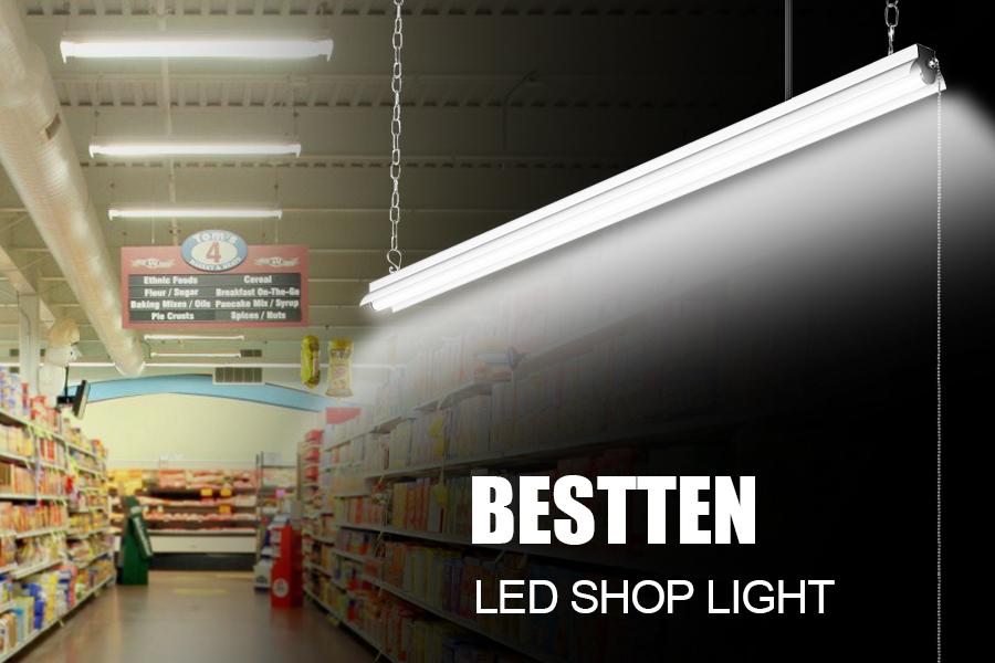 Amazon Com 2 Pack Bestten High Output 5000 Lumen 4000k Bright White Color Led Shop Lights