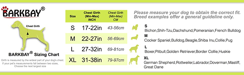 hiking dog harness size chart