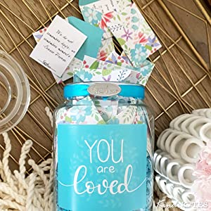 Amazon Com Kindnotes Glass Keepsake Gift Jar With Love Messages For Couples Birds And Flowers Home Kitchen