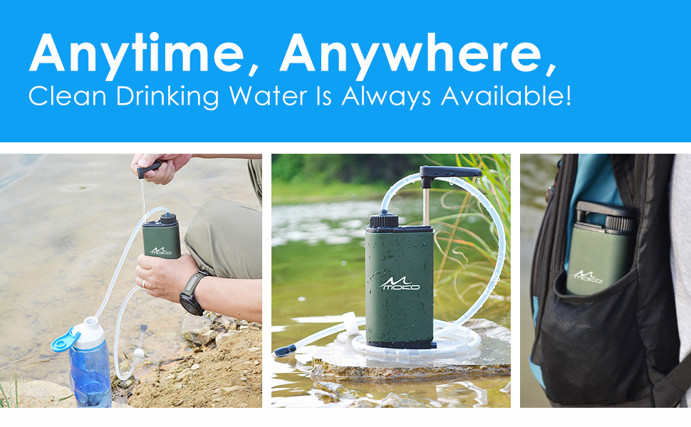 DLY Portable Water Filter Outdoor Water Purifier Camping 0.01 Micron Emergency Backpacking Water Filter for Hiking with 3-Stage Filter Pump