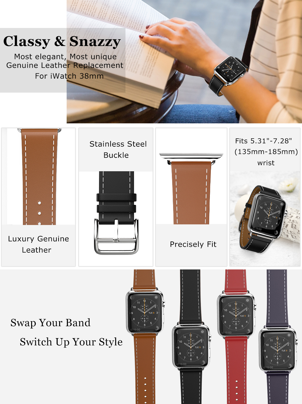MoKo Compatible Band Replacement for Apple Watch 38mm 40mm Series 4/3/2/1, Luxury Genuine Leather Smart Watch Band Strap Single Tour - Quartz Gray ...