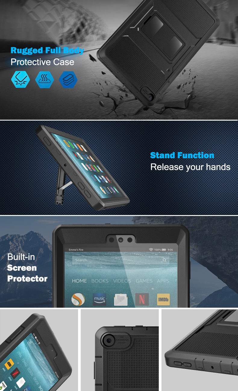 for Apple Fire HD 8 2017 blue Shock Absorption Heavy Duty Protective Anti-Scratch Cover Shell Fire HD 8 2017 Case Kickstand Rugged Sleep// Wake Up