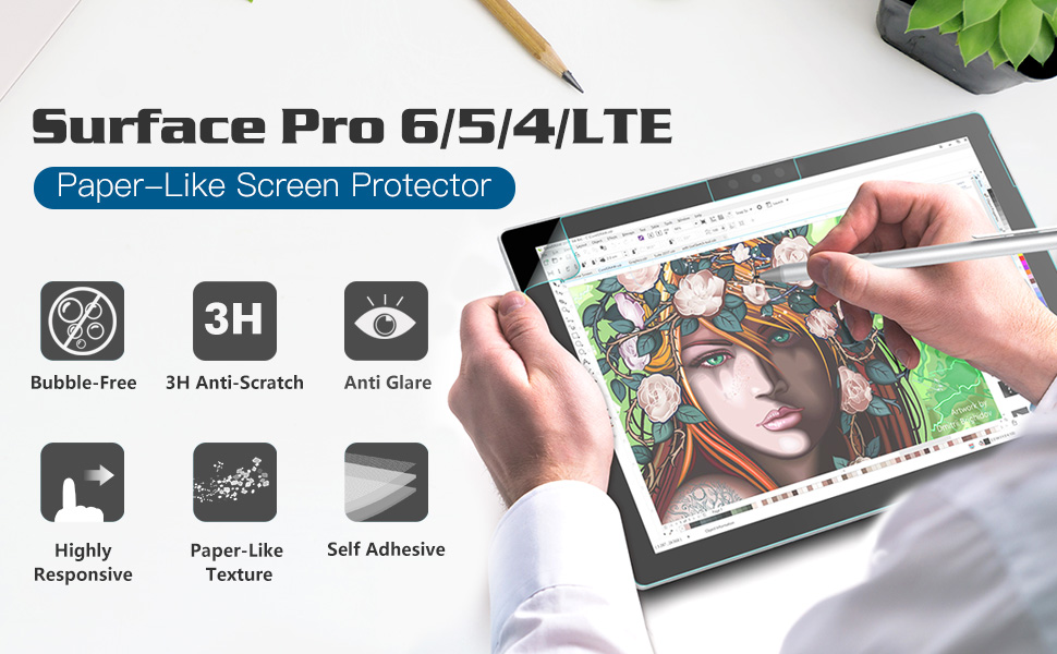MoKo for Microsoft Surface Pro 6 Pro 4 //5 Paper-Like Screen Protector PET Film
