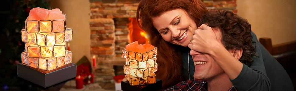 Romantic rock salt lamp as gift for lover