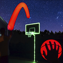 illuminate your basketball hoop with enough lighting for the pole, rim, and backboard