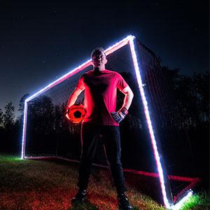 GlowCity light up led glow in the dark night sports soccer ball goal net