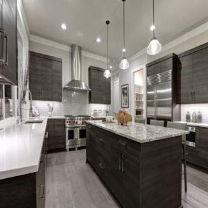 kitchen counters with cfl bulbs hanging